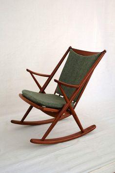 Rocking chair mid century teak vintage, by Frank Reenskaug for Bramin #RockingChair
