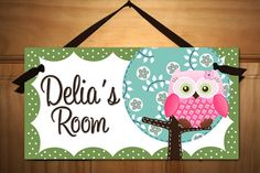 Sweet Little Owl Girls Bedroom and Baby Nursery by ToadAndLily Bedroom Door Signs, Bedroom Doors, Baby Bedroom, Girls Bedroom, Bedroom Ideas, Childs Bedroom, Girl Rooms, Diy Signs, Wall Signs