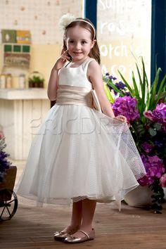 e2460f93d25 Cute Ball Gown Square Tea-length Sash Embellishing Flower Girl Dress 3 Girls  Dresses