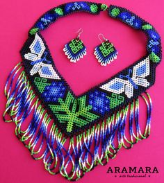 Mexican Huichol Beaded Butterfly Necklace and Earrings by Aramara Native American Earrings, Native American Beading, Seed Bead Jewelry, Beaded Jewelry, Seed Beads, Art Perle, Art Du Fil, Mexican Jewelry, Beaded Bags