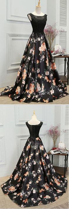 Charming Prom Dress,Print Prom Gown,A-Line rom Dress, O-Neck Prom Gown