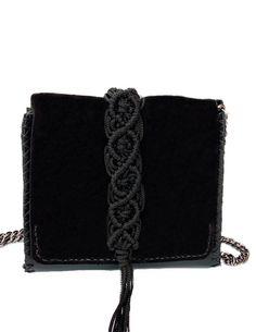 Vanity mini bag Macrame Design, Mini Bag, Hand Stitching, Black Leather, Vanity, Shoulder Bag, Wallet, Bags, Dressing Tables