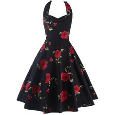 Halter Floral Puffer Vintage Dress - RED 2XL