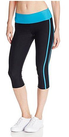f7545b6304c8ea Steve Madden Women's 3-Pack Capri Color Side Stripe Legging, Neon Blue,  Large at Amazon Women's Clothing store:
