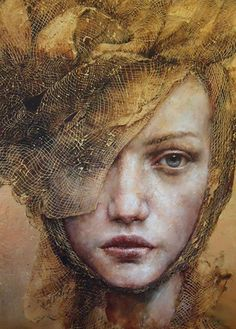 """The Players"" - Pam Hawkes, oil, bee's wax and Dutch metal on board {contemporary figurative artist beautiful female headdress woman face portrait painting}"