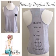 """❣FLASH SALE!!! Beauty """"Coco Chanel"""" Statement Tank April Spirit Heart Graphic Tank proclaims to everyone that Beauty begins with you! BEAUTY BEGINS THE MOMENT YOU DECIDE TO BE YOURSELF. Such a powerful statement from designer, Coco Chanel! Every woman needs to live this truth! This listing is for the size small gray tank. ▶️see graphic 4 for measurements. Picture 3 is just to show fit on model. Made of 50% polyester, 50% rayon. Made in the USA!You may purchase this listing and add it to a…"""