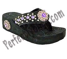 Rhinestone Western Style Flip Flop Concho (Black / Purple) Montana West $29