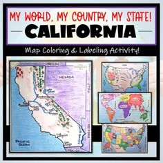 """This """"My World, My Country, My State!"""" Map Activity is a MUST for students who are learning about their place in the world- literally! This labeling and coloring activity focuses on learning 1.) the Continents and Oceans, 2.) the United States, and 3.) the state of California where students will ide..."""