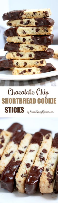 Shortbread Cookies with chocolate chips, shaped like sticks, dipped in melted chocolate are delicious Chocolate Chip Shortbread Cookie Sticks ♥