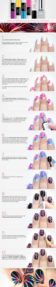 Nail Art Tutorial - Head over to Pampadour.com for more fun and cute nail art designs! Pampadour.com is a community of beauty bloggers, professionals, brands and beauty enthusiasts! #nails #nailpolish #polish #nailart #naildesign #cute #fun #pretty #howto #tutorial #beauty #spring #manicure #fireworks