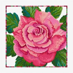 A glorious Summer rose in varying shades of pinks and reds. This design is easy to stitch as it is. Cross Stitch Embroidery, Hand Embroidery, Cross Stitch Patterns, Stitch 2, Cross Stitch Flowers, Rose Bouquet, Sewing, Floral, Cross Stitch Rose