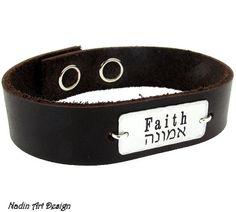 Jewish Bracelet / Hebrew Engraved Leather Cuff for Men