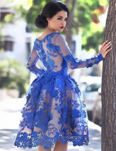 Dressywe Appliques Scoop Knee-Length Long Sleeve A-Line Tulle Royal Blue Prom Presses