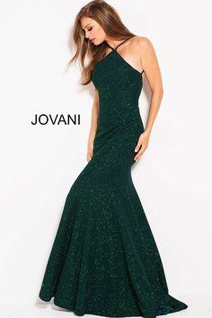 Emerald High Neck Open Back Glitter Prom Dress #59887 #Jovani #PROM2018