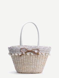 Shop Beige Bow Embellished Straw Bag With Pom Pom Trim online. SheIn offers Beige Bow Embellished Straw Bag With Pom Pom Trim & more to fit your fashionable needs.