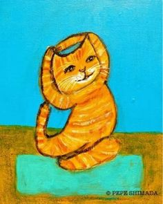 Yoga Cat by Pepe Shimada Cartoon Kunst, Cartoon Art, Crazy Cat Lady, Crazy Cats, Elmo, Dog Poster, Dogs And Kids, Cat Wall, Yoga Art