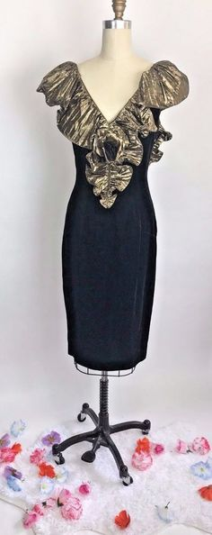 Vintage 80s Black Velvet Metallic Gold Ruffle Wiggle Dress Glam Wild Child 10 #BBCollections #WiggleDress #Cocktail