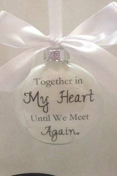 Memorial Glass Christmas Ornament - Together in My Heart - In Memory Personalized Bereavement Gift *** Visit the image link more details. (This is an affiliate link) Glitter Ornaments, Glass Christmas Ornaments, Christmas Crafts, Christmas Ideas, Elf Christmas Decorations, Personalised Christmas Baubles, Memory Crafts, Bereavement Gift, Memorial Ornaments