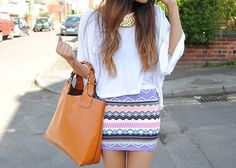 flowy top with tight printed skirt