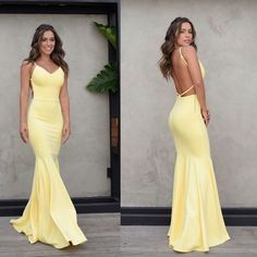 Charming Yellow Backless Prom Dress, Mermaid Spaghetti Straps Satin Prom Dress, KX501 The dress is fully lined, 8 bones in the bodice, chest pad in the bust, lace up back or zipper back are all available, total 126 colors are available. This dress could be custom made, there are no extra cost to do custom size and color. Description 1, Material: satin, elastic silk like satin. 2, Color: picture color or other colors, there are 126 colors are available, please contact us for more colors. 3…