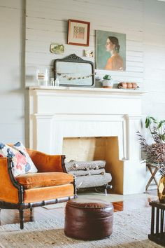 Recover old chair with burnt orange velvet  Interiors | Country Living