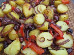 Potato, red onion, pepper and olive bake with cumin and chili flakes | Ozlem's Turkish Table Humble Potato, Onion Relish, Turkish Recipes, Culinary Arts, Food Plating, Baked Potatoes, Side Dishes, Food Photography, Olives