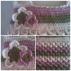 Handmade Crochet Shoulder Bag - Crocodile Stitch Bag - Extra Large - Striped Shoulder Bag - Leaf, Rose Blush & Eggshell on Etsy, $55.00