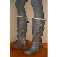 SIZES  3  4 5 6 or 7   FREE SHIPPING    new grey slouch wedge boots ADJUSTABLE STRAP for R249.95 Wedge Boots, Riding Boots, Wedges, Free Shipping, Grey, Stuff To Buy, Shoes, Fashion, Horse Riding Boots