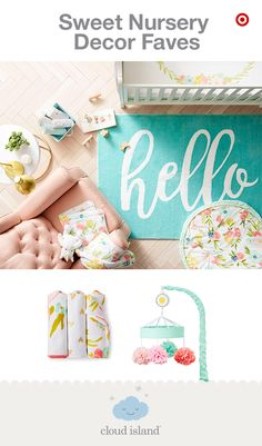 """Welcome your little one home with a warm, inviting nursery from Cloud Island, new and only at Target. The Floral Fields collection features beautiful watercolor florals that are infused with delicate, handmade-quality detailing, like fun pom poms and splashes of gold foil. Mix and match bedding, blankets, rugs, mobiles and wall decor to create your own perfect look. Say """"hello"""" to an amazing new beginning."""