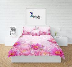 Pink Floral Fade Drawing Room Interior, Floral Comforter, Get Funky, Comforters, Duvet Covers, Bedding, Folk, Bedroom, Furniture