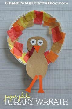 10 Turkey Kid Crafts Roundup  sc 1 st  Pinterest & Paper Plate Turkey Wreath Craft   Turkey wreath Thanksgiving and ...