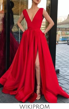 Red A Line Deep V Neck Split Prom Dresses with Pockets Strap High Slit Evening Dress WK481, This dress could be custom made, there are no extra cost to do custom size and color Tight Prom Dresses, Split Prom Dresses, Prom Dresses With Pockets, Wedding Dress With Pockets, Prom Dresses Blue, Cheap Prom Dresses, Formal Evening Dresses, Nice Dresses, Dress Pockets