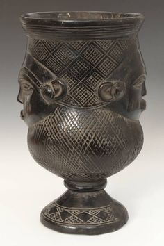 Janiform Mbwoongntey or libation cup from the Kuba people of the Republic of Congo, Central Africa