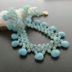 Amazonite Princess Handmade Beaded Gold Necklace by NansGlam
