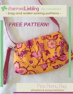 Pink Peony Purse ❁ Free PDF Sewing Pattern by charmed Liebling