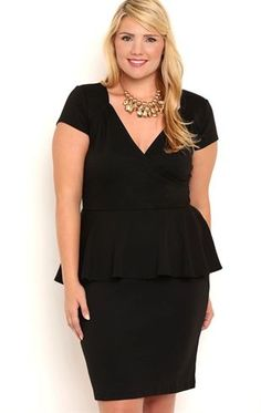 Feel confident for your event in this beautiful, classic dress! This plus size short homecoming dress features cap sleeves, a V neckline with ruching and a peplum skirt. Solid pumps and a bold necklace kick this look up a notch.