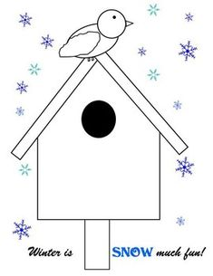 FREE Snowy Birdhouse in Winter Coloring Page - Need some filler for your art corner? This Winter birdhouse is sweet and simple for coloring or cop - Winter Art Projects, Winter Crafts For Kids, Winter Kids, Projects For Kids, Art For Kids, Winter Christmas Scenes, January Art, January Crafts, Coloring Pages Winter