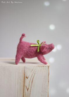 Nadelfilz Schwein - Gefilzte verträumte rosa Schwein - Nadel Filz Schwein - Nadel Gefilzte Kunst Doll - Nadelfilz Piggy - kleine rosa Schwein - Gefilzte Tier