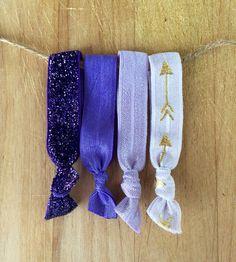 """The """"Purple Ombré Ties"""" Elastic Hair Ties, No Crease Hair Ties, Yoga Hair Ties, FOE, Fold Over Elastic, Hair Ties"""