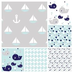 Nautical Baby Crib Bedding fitted crib sheet, whale, sailboats, aqua, wave, navy on Etsy, $55.00