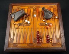 Backgammon game I made for a PIF event. - Katherine Louise Leather Designs - Gallery - Leatherworker.net