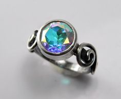 Mystic Topaz Engagement Ring - Unique Alternative Silver Swirl Gemstone Wedding Ring - Ice Blue Aqua Green Purple - Winter Wonderland