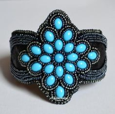 turquoise druks and seed bead embroidery cuff