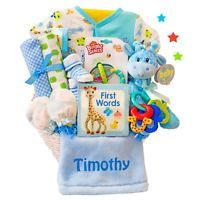 Cashmere Bunny Personalized Little Safari Boy Baby Gift Basket - LSGBB