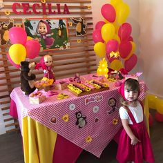 "1,645 curtidas, 137 comentários - Alexandra Verro (@nossavida_com_cecilia) no Instagram: ""A Masha mais linda que você verá hoje ! Cecília fez 3 aninhos "" Pig Birthday Cakes, Picnic Birthday, Bear Birthday, Baby Girl Birthday, 3rd Birthday Parties, 2nd Birthday, Masha Et Mishka, Marsha And The Bear, Sunshine Birthday"