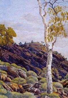 Albert Namatjira, Spinifex Ridge Near Wallace Rockhole, watercolour on paper, signed lower right, 37 x Indigenous Australian Art, Indigenous Art, Australian Artists, Australian Icons, Australian Bush, Watercolor Landscape, Abstract Landscape, Watercolour Painting, Landscape Paintings