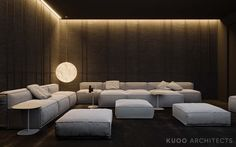 Ritzy UK Home with Glam Metallic Accents A super swanky interior awaits us in this ritzy home near London, UK, visualised by Polish firm KUOO Architects. The enormous project is filled wall to wall wit – Heimkino Systemdienste Home Cinema Room, Home Theater Decor, Home Theater Rooms, Home Theater Design, Home Decor, Living Room Theaters, Room Interior, Interior Design, Futuristisches Design
