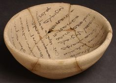 Aramaic, a Semitic language related to Hebrew and Arabic, was spoken and written all over the Middle East from the beginning of the first millennium BC. Unlike Sumerian or Akkadian, it was written with an alphabet of just 22 letters, making it much easier to learn and use. This bowl from Kish, dating to the 6th century AD, is covered with an incantation in Aramaic to ward off evil demons.