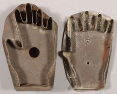 321: Two Open Hand Shaped Tinned Cookie Cutters. One ra
