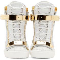 Giuseppe Zanotti White Croc-Embossed Wedge Sneakers ($865) ❤ liked on Polyvore